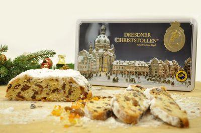 Dresdner Christstollen - 1 kg - in Geschenkblechdose